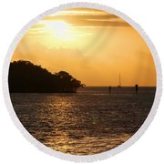 Key West Mangrove Sunrise Round Beach Towel