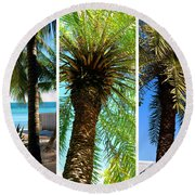 Key West Palm Triplets Round Beach Towel by Susanne Van Hulst