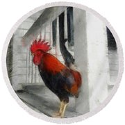 Key West Porch Rooster Round Beach Towel by Michelle Calkins