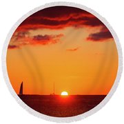 Key West Red Cloud Sunset Round Beach Towel