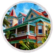 Key West Southern Most Hotel Round Beach Towel by Bill Cannon