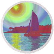 Key West Sun Round Beach Towel