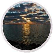 Key West Sunset 10 Round Beach Towel