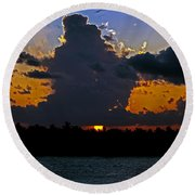 Key West Sunset Glory Round Beach Towel