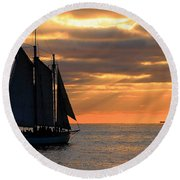 Key West Sunset Sail 6 Round Beach Towel