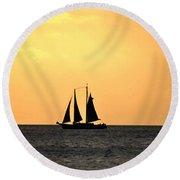 Key West Sunset Sail Round Beach Towel