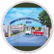 Key West U.s. Naval Station Round Beach Towel