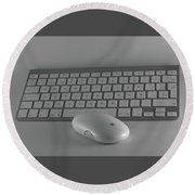 Keyboard And Mouse  Round Beach Towel