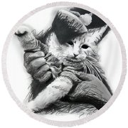 Keyboard Cat In Pencil Round Beach Towel