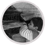 Kid Drinking From The Fountain Round Beach Towel