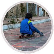 Kid Skateboarding Round Beach Towel