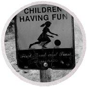 Kids At Play Sign Round Beach Towel