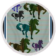 Kids Fun Gallery Horse Prancing Art Made Of Jungle Green Wild Colors Round Beach Towel