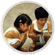 Kids In China 1986 Round Beach Towel