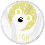 Kids Lion Poster Round Beach Towel