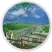 Kids On A Fence Round Beach Towel