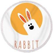 Kids Rabbit Poster Round Beach Towel
