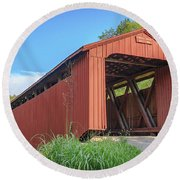 Kidwell Covered Bridge Round Beach Towel