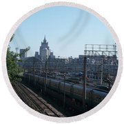 Moscow Kievskaya Train Yard Round Beach Towel