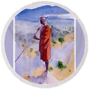 Kikuyu In A Red Cloak Round Beach Towel