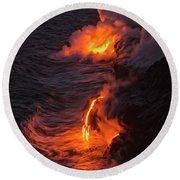 Kilauea Volcano Lava Flow Sea Entry - The Big Island Hawaii Round Beach Towel