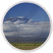 Kilimanjaro With Elephants Round Beach Towel