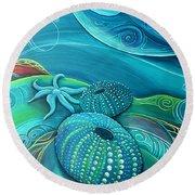 Kina Sea Anemone With  Stingray By Reina Cottier Round Beach Towel