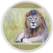 King At Rest Round Beach Towel