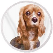 King Charles Spaniel Puppy Round Beach Towel by Edward Fielding