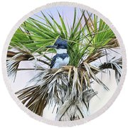 King Fisher Palm Round Beach Towel