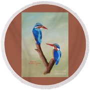 King Fishers Round Beach Towel