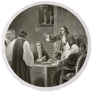 King James II Of England Facing Bishops Round Beach Towel