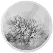 King Mountain Monochrome Round Beach Towel
