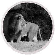 King Of Beasts Black And White Round Beach Towel