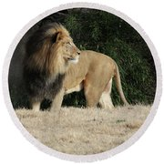 King Of Beasts Round Beach Towel