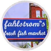 King Of Fish Fish Market  Round Beach Towel