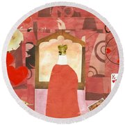 King Of Hearts Round Beach Towel