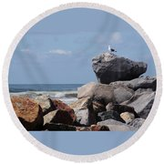 King Of The Rocks Round Beach Towel