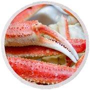 King Snow Crab Legs Ready To Eat Closeup Round Beach Towel