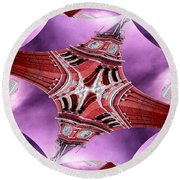 King Street Station In Fractal Round Beach Towel