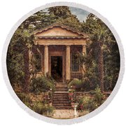 Kew Gardens, England - King William's Temple Round Beach Towel by Mark Forte