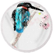 Kingfisher In Late Spring Snow Round Beach Towel