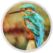 Kingfisher's Perch 2 Round Beach Towel