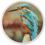 Kingfisher's Perch Round Beach Towel