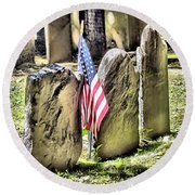 King's Chapel Cemetery  Round Beach Towel