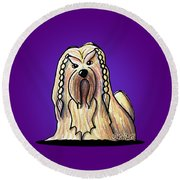 Kiniart Lhasa Apso Braided Round Beach Towel