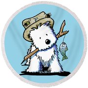 Kiniart Westie Fisherman Round Beach Towel