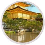 Kinkakuji Golden Pavilion Kyoto Round Beach Towel