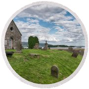Kinross Cemetery On Loch Leven Round Beach Towel