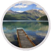 Kintla Lake Dock Round Beach Towel